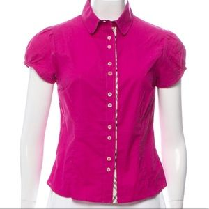 Burberry Nova Trim Button Up Blouse Sz. S Pink